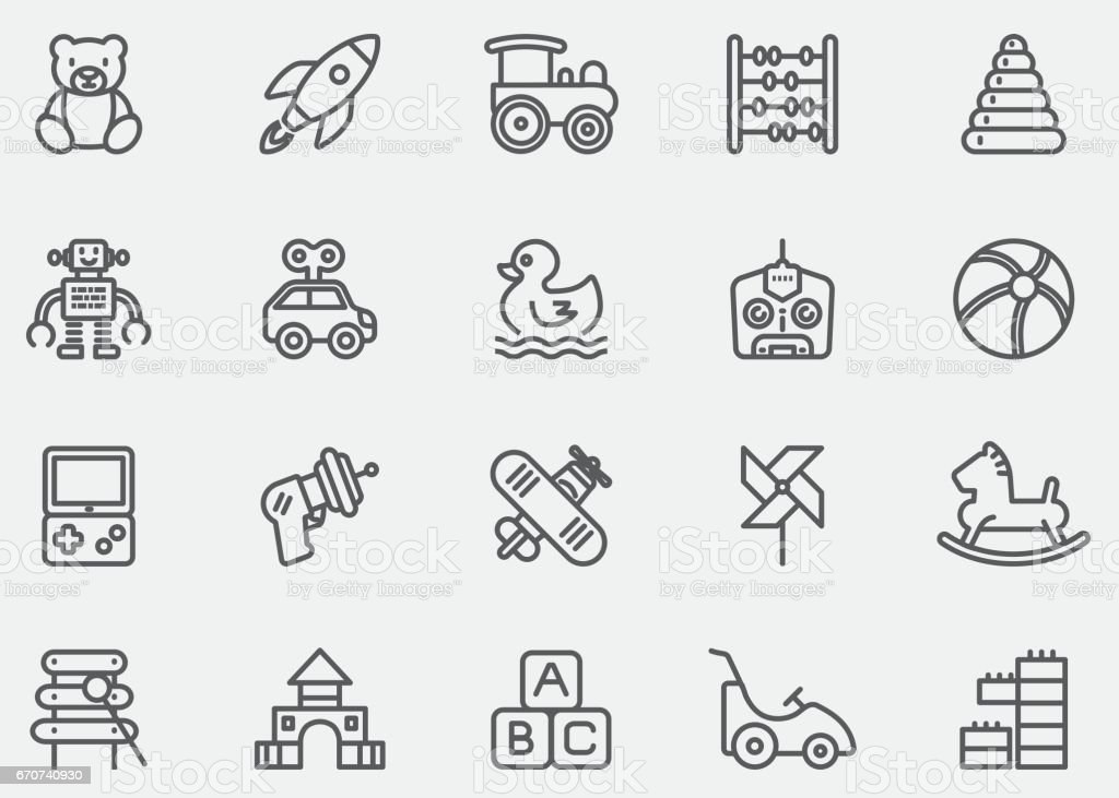 Baby Toy Line Icons | EPS10 vector art illustration