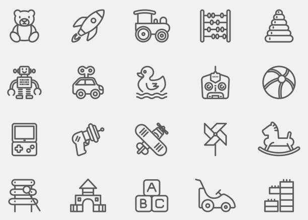 baby toy line icons | eps10 - zabawka stock illustrations