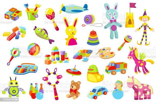 赤ちゃんのおもちゃセット子供のおもちゃの様々な小さな子供のためのかわいい面白いおもちゃ おもちゃのベクターアート素材や画像を多数ご用意 Istock