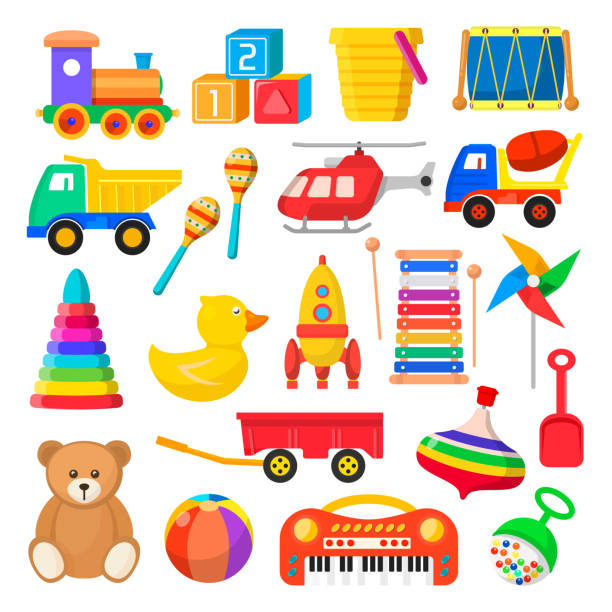 baby toy set - zabawka stock illustrations