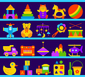 Baby Toy simple kid play flat color vector set