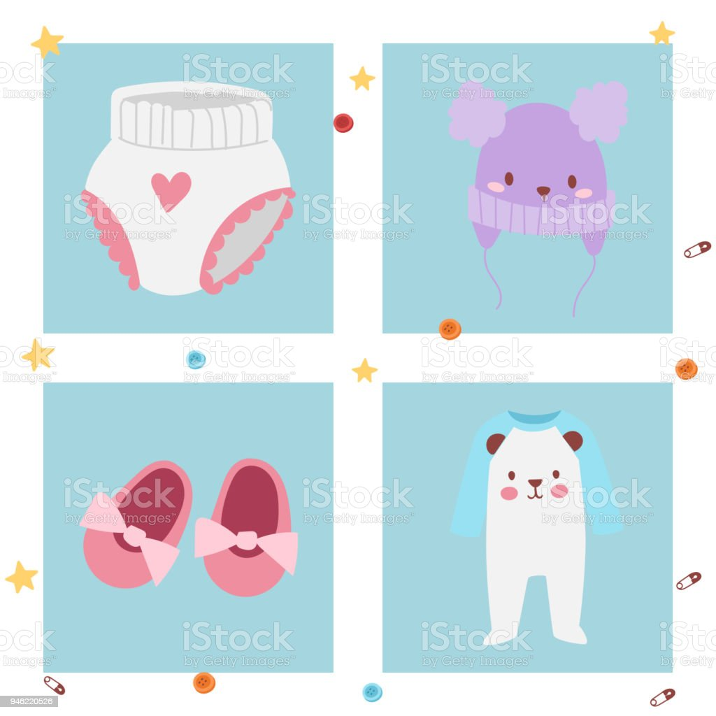 Baby toys banner cartoon family kid toyshop design cute boy and girl childhood art diaper drawing graphic love rattle fun vector illustration vector art illustration