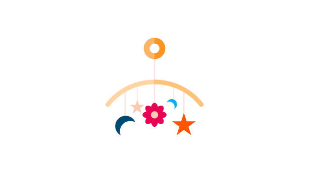ilustrações, clipart, desenhos animados e ícones de cabide de brinquedos de bebê - mobile
