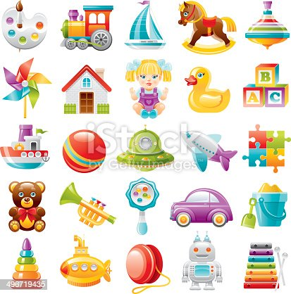 Baby toys icon set: palette with paints and brush, train, yaht, rocking horse, whirligig, air mill, toy house, dall, rubber duckling, baby blocks, boat, ball, UFO, plane, puzzle, teddy bear, trumpet, rattle toy, car, shovel & bucket, pyramid, submarine, yo-yo toy, robot, xylophone