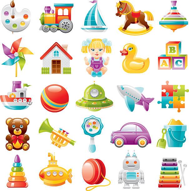 baby spielzeug icon-set - hausfarbpaletten stock-grafiken, -clipart, -cartoons und -symbole