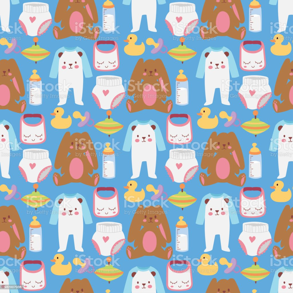 Baby toys icons cartoon family kid toyshop design cute boy and girl childhood art diaper love rattle seamless pattern background vector illustration vector art illustration