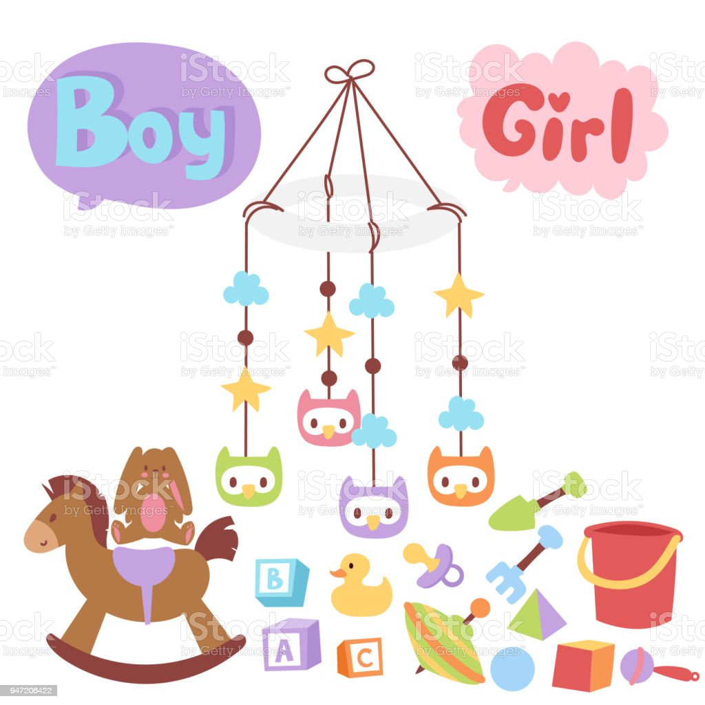 Baby toys icons cartoon family kid toyshop design cute boy and girl childhood art diaper drawing graphic love rattle fun vector illustration vector art illustration