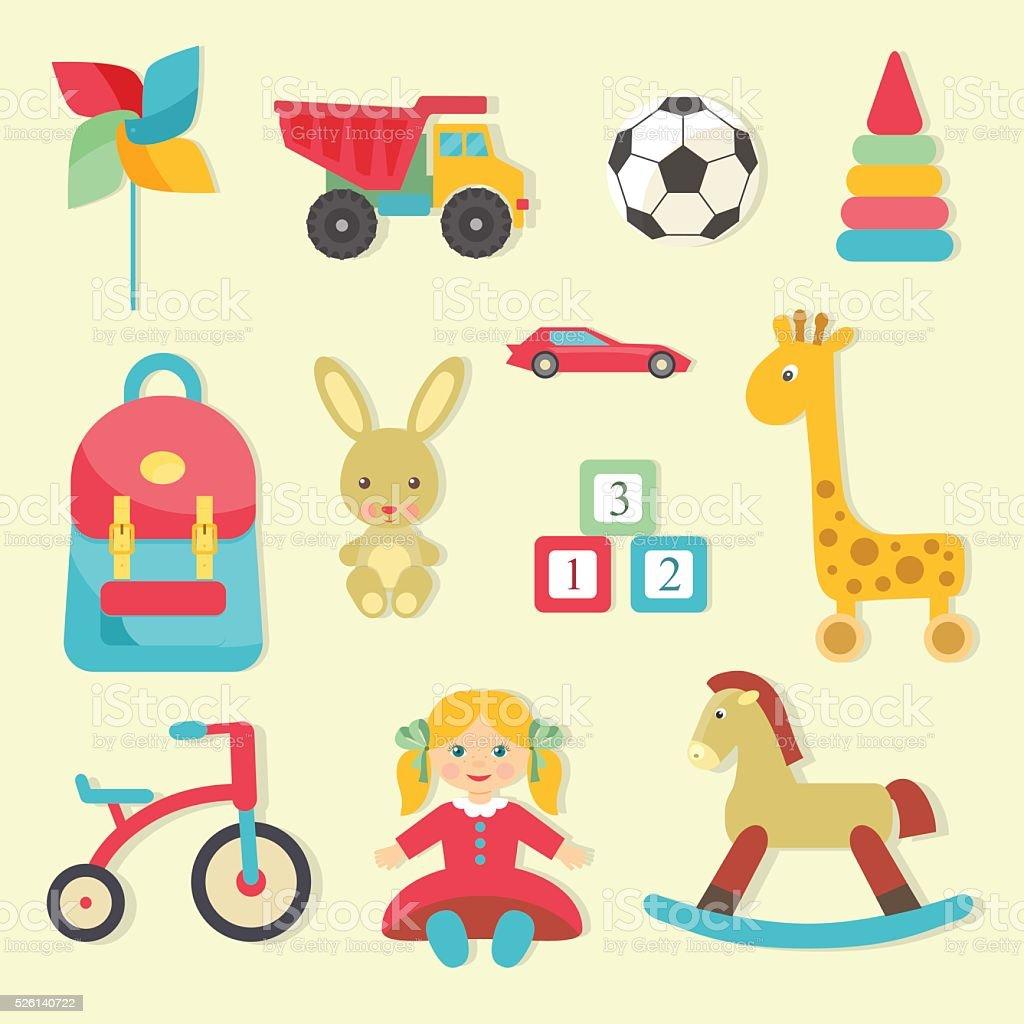 Baby toys icons. Flat style vector illustration. vector art illustration