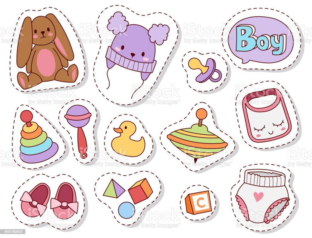 Baby toys patches cartoon family kid toyshop design cute boy and girl childhood art diaper drawing graphic love rattle fun vector illustration vector art illustration