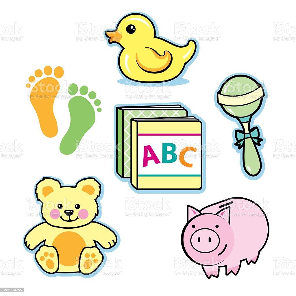 Baby toys rubber ducky rattle teddy bear piggy bank books vector art illustration