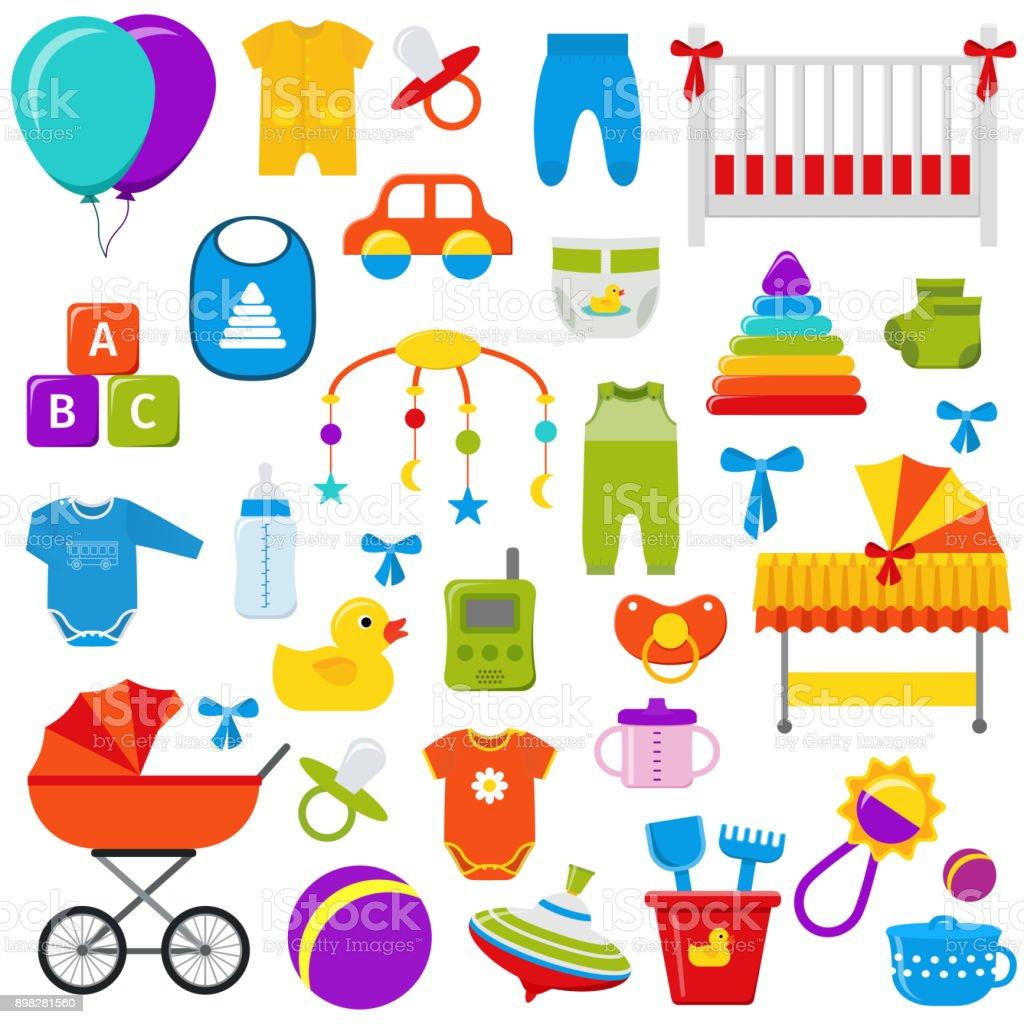 Baby toys set. Vector illustration. vector art illustration