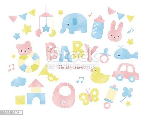 Baby toys watercolor