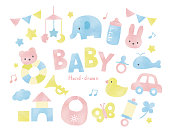 Baby toys watercolor