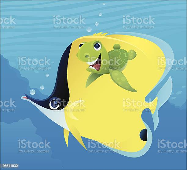 Baby Turtle And Butterfly Fish-vektorgrafik och fler bilder på Blå