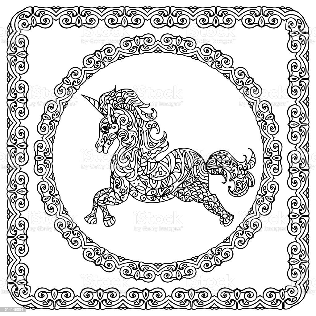 Baby Unicorn Coloring Page Stock Illustration Download