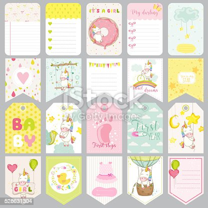 Baby Unicorn Tags. Baby Banners. Scrapbook Labels. Cute Cards