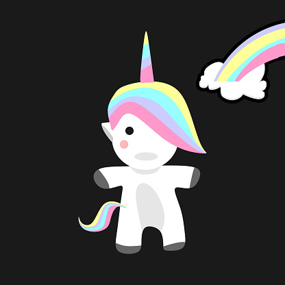 Baby unicorn vector illustration isolated on black background for poster, banner, and t-shirt print.
