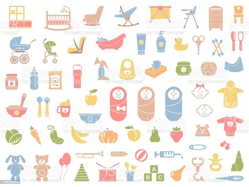Bébé icônes vectorielles set - Illustration vectorielle