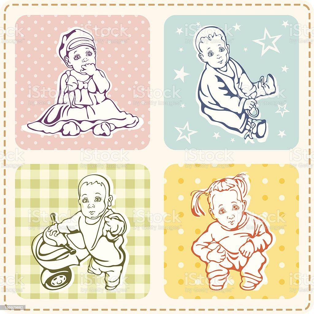 Baby Vector Illustrations Set royalty-free stock vector art