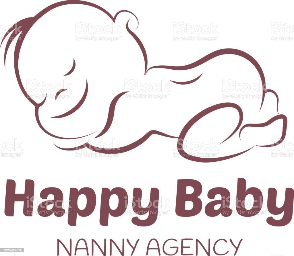Baby vector template for nanny agency vector art illustration