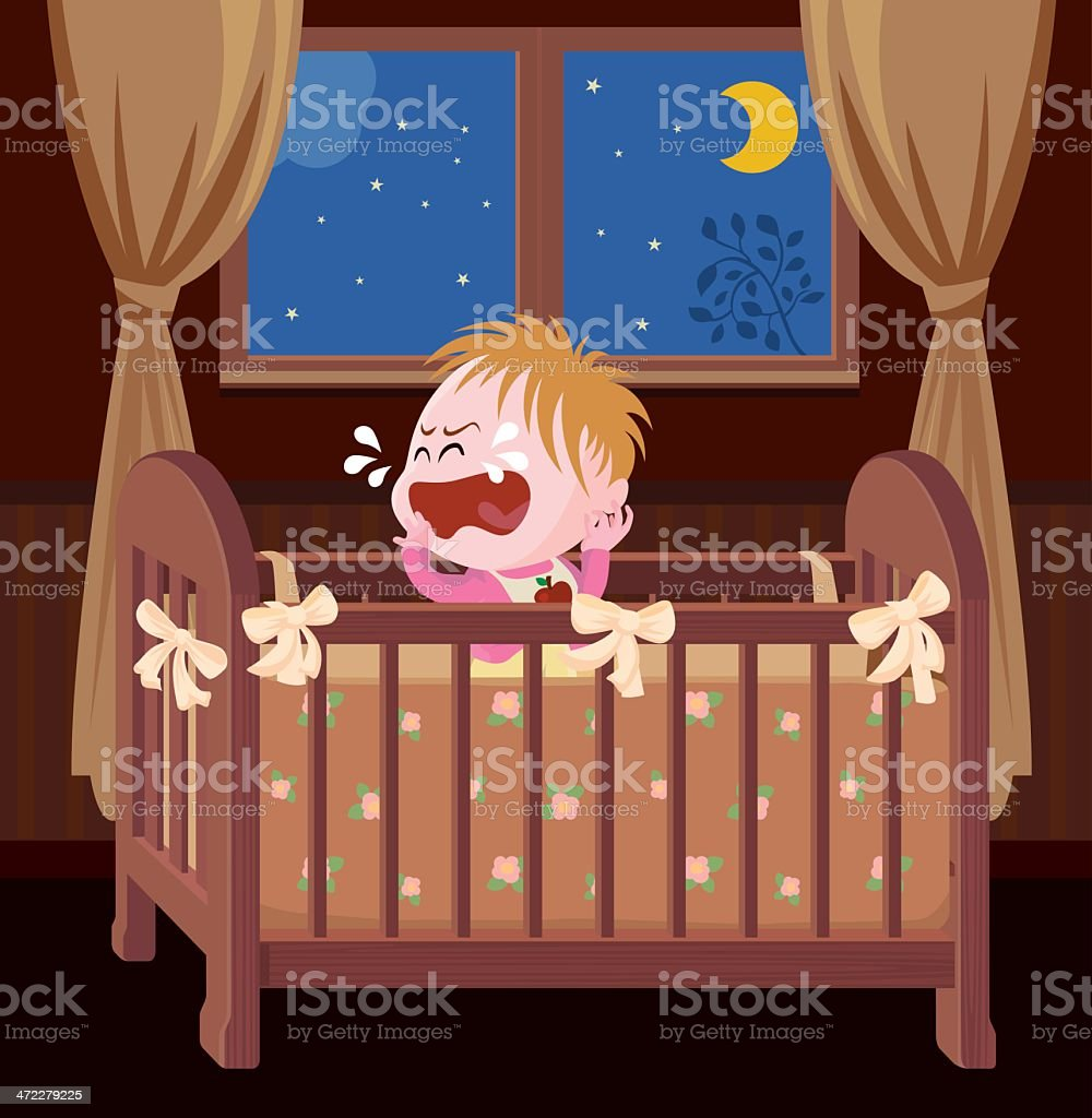 Baby wakeup and crying at midnight vector art illustration