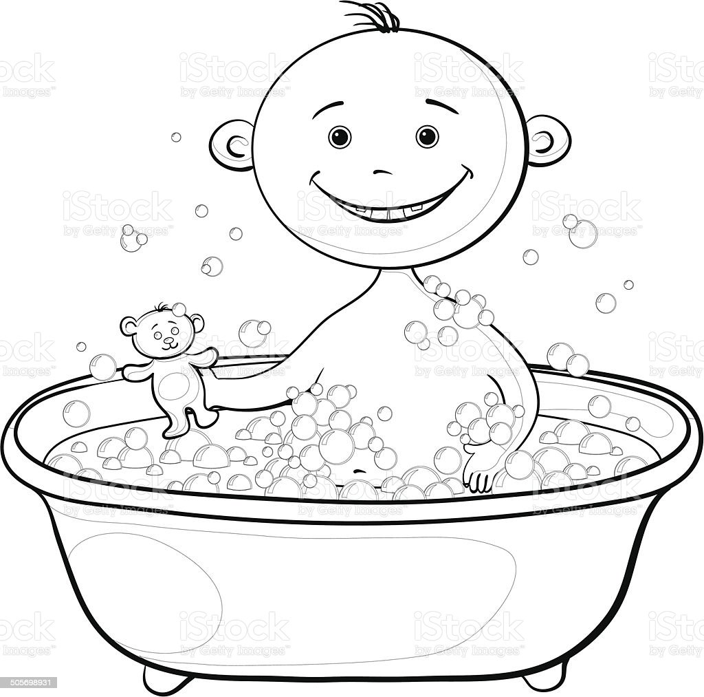 Baby wash in the bath, contours vector art illustration