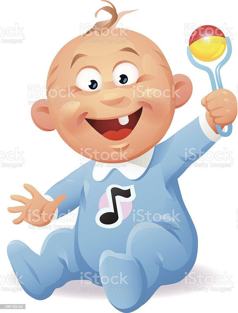Baby With Rattle royalty-free baby with rattle stock vector art & more images of 6-11 months