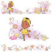 Baby, toys, ornamental border design. Little baby girl of 11 months learn to walk. African american dark skin child. Vector frames, upper and bottom border.  Decorative elements,. Vector illustration.