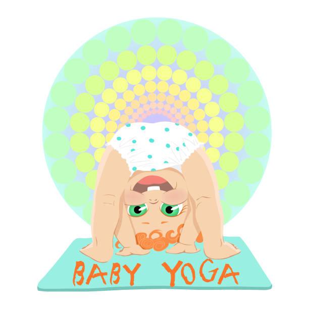 bildbanksillustrationer, clip art samt tecknat material och ikoner med baby yoga koncept med söt liten bebis - gym skratt