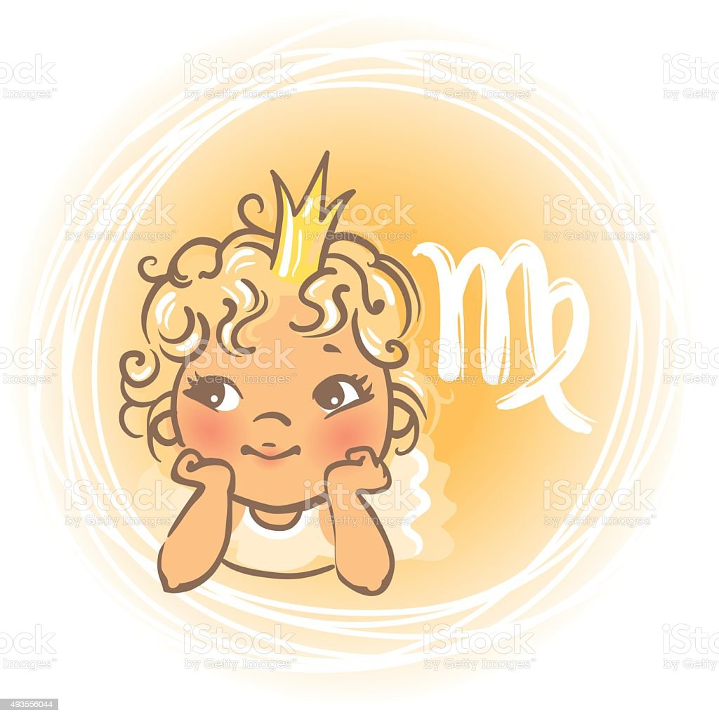 Baby zodiac Virgo vector art illustration