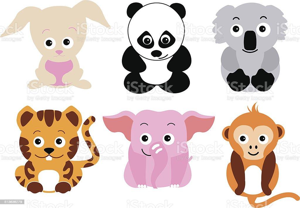 Zoológico De Animais Bebê Dos Desenhos Animados Vetor