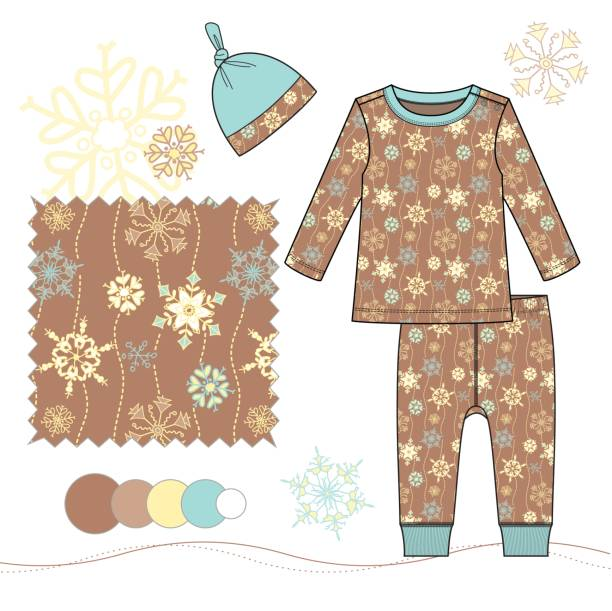 bildbanksillustrationer, clip art samt tecknat material och ikoner med baby_toddler_boy_pajamas_set_with_snowflakes_illustration_brown - hui style