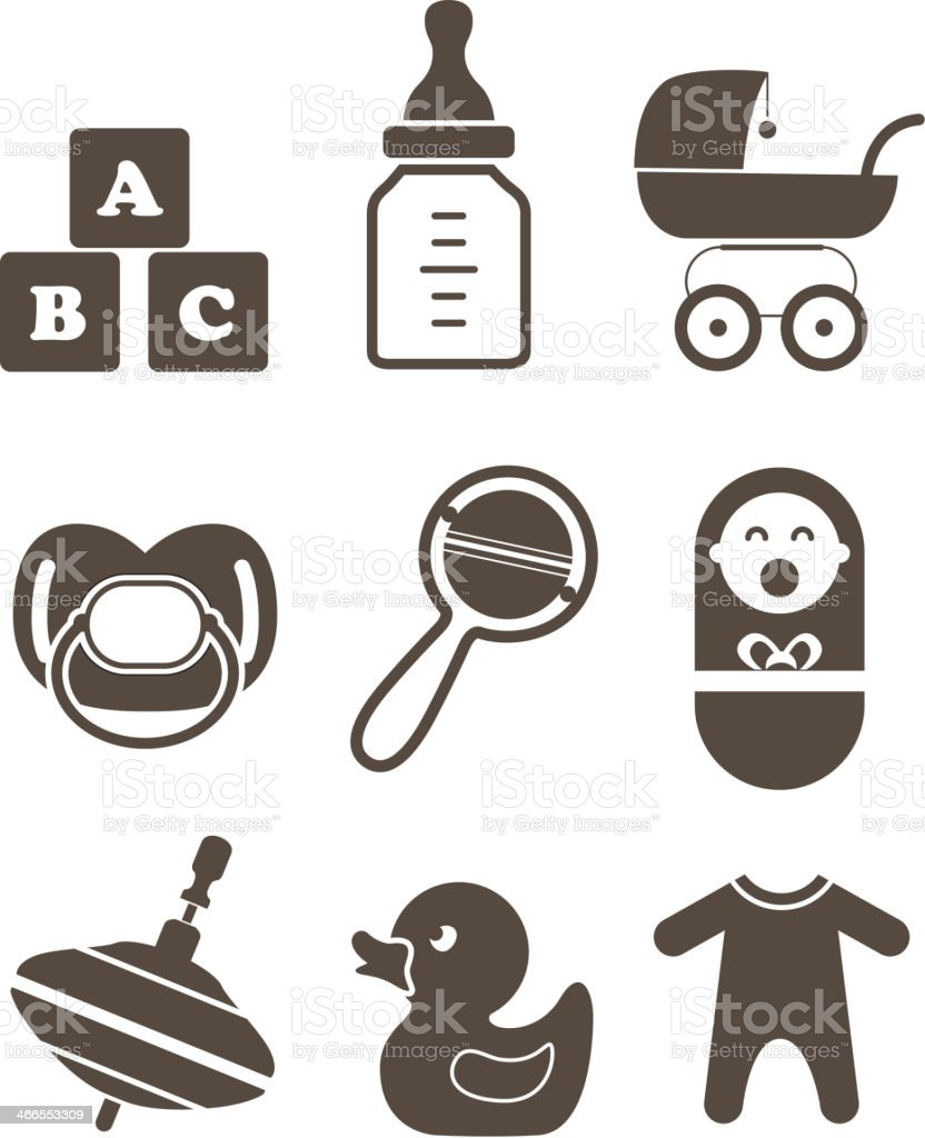 Baby`s accessories silhouettes collection royalty-free stock vector art