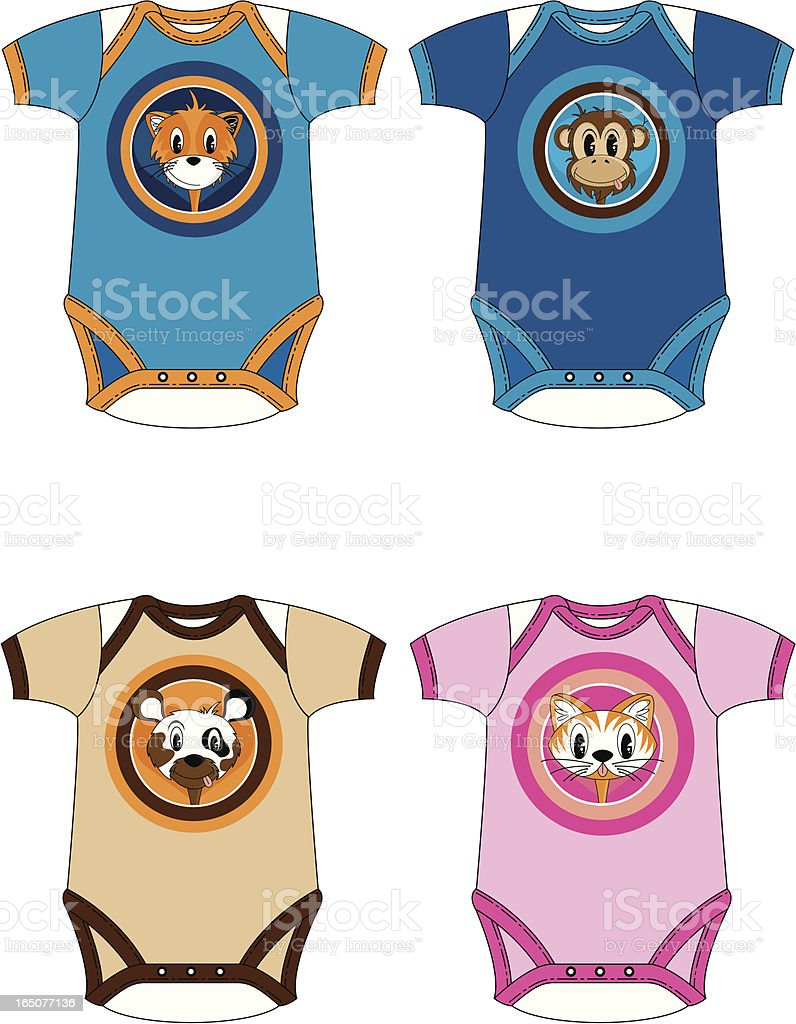 Babys Animal Character Sleepsuit/Bodysuit royalty-free stock vector art
