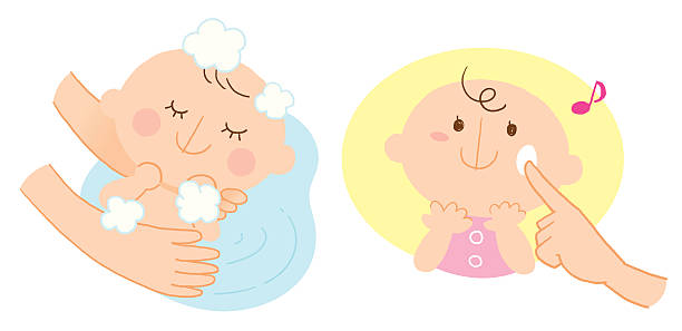 baby's bathing and skin care vector art illustration
