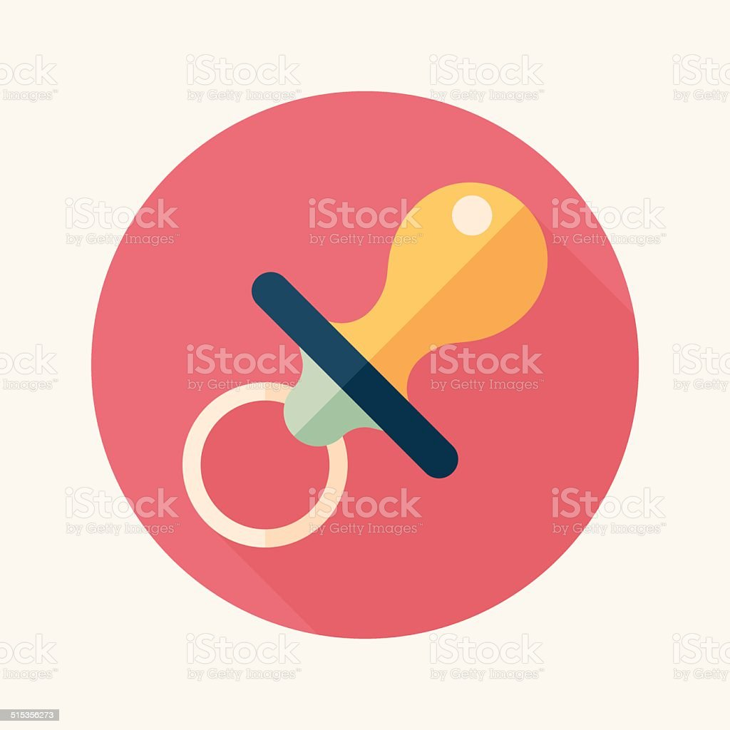 Baby's dummy flat icon with long shadow,EPS 10 vector art illustration