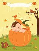 A newborn sleeping inside a pumpkin in the fall