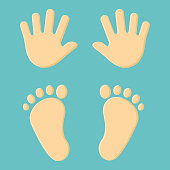 Baby's foot prints and hand prints. Vector illustration.