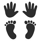 Baby's footprints and handprints, icon. Abstract concept. Flat design. Vector illustration on white background.