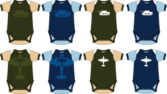 Babys Tank & Plane Army & Airforce Sleepsuit
