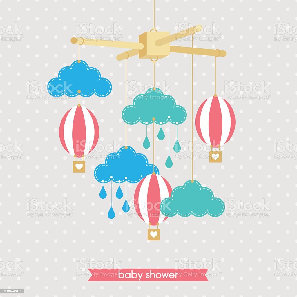 Babyshower mobile 1 vector art illustration
