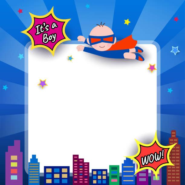 ilustrações de stock, clip art, desenhos animados e ícones de baby-shower-super-hero - baby super hero