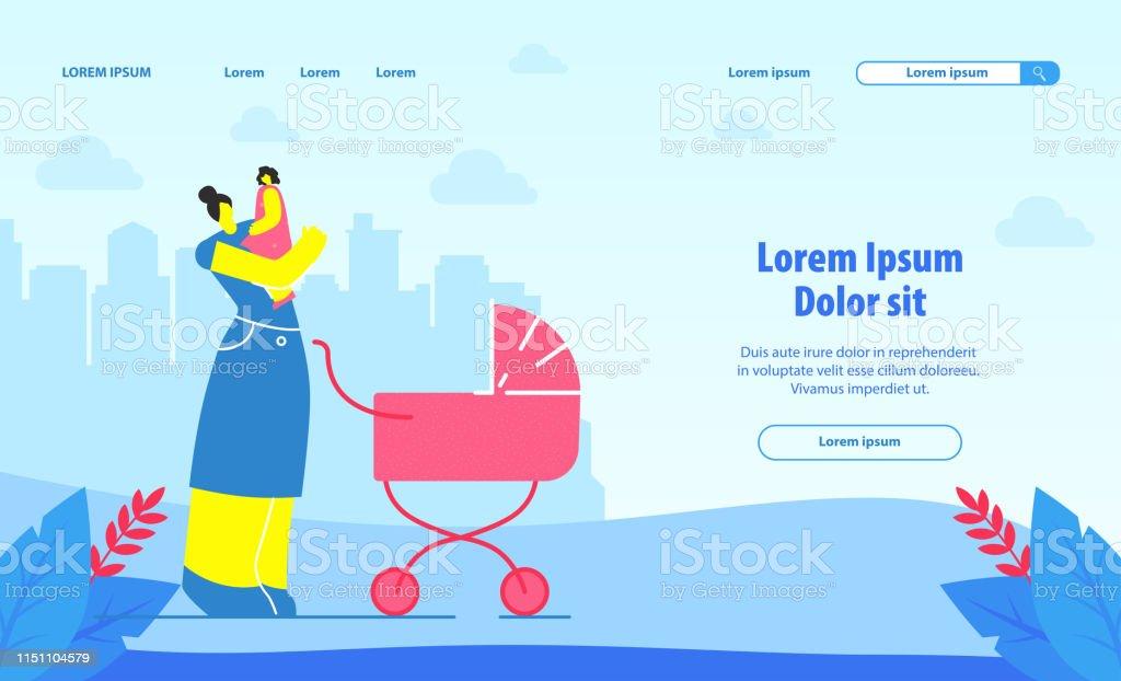 Babysitting Service Landing Page Vector Template Stock Illustration