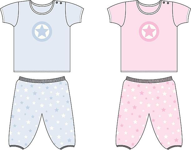 baby/kleinkind-sterne top & höschen-set - pastellhosen stock-grafiken, -clipart, -cartoons und -symbole