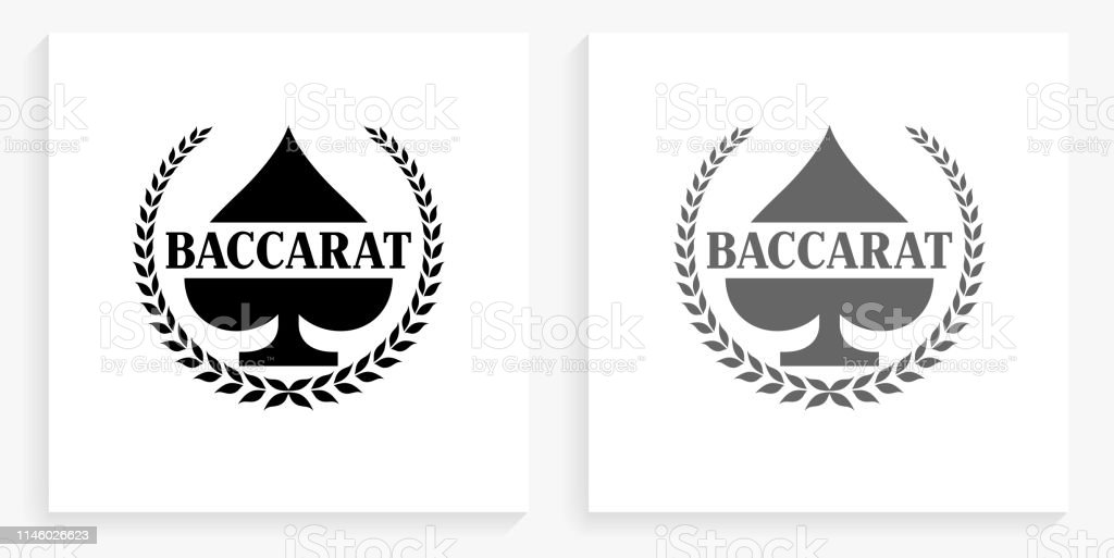 Baccarat Black and White Square Icon vector art illustration