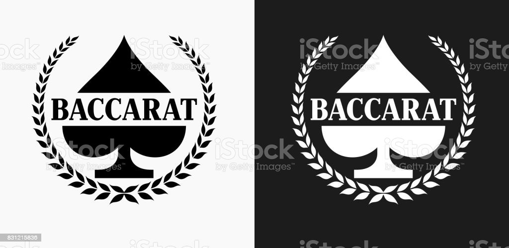 Baccarat Icon on Black and White Vector Backgrounds vector art illustration