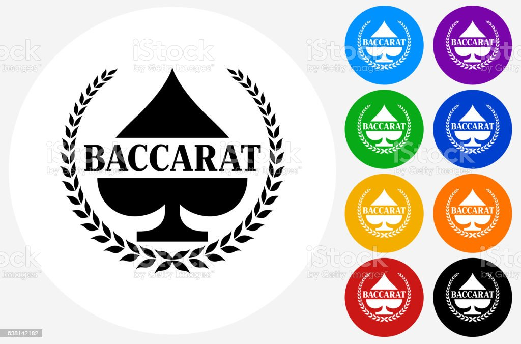 Baccarat Icon on Flat Color Circle Buttons vector art illustration