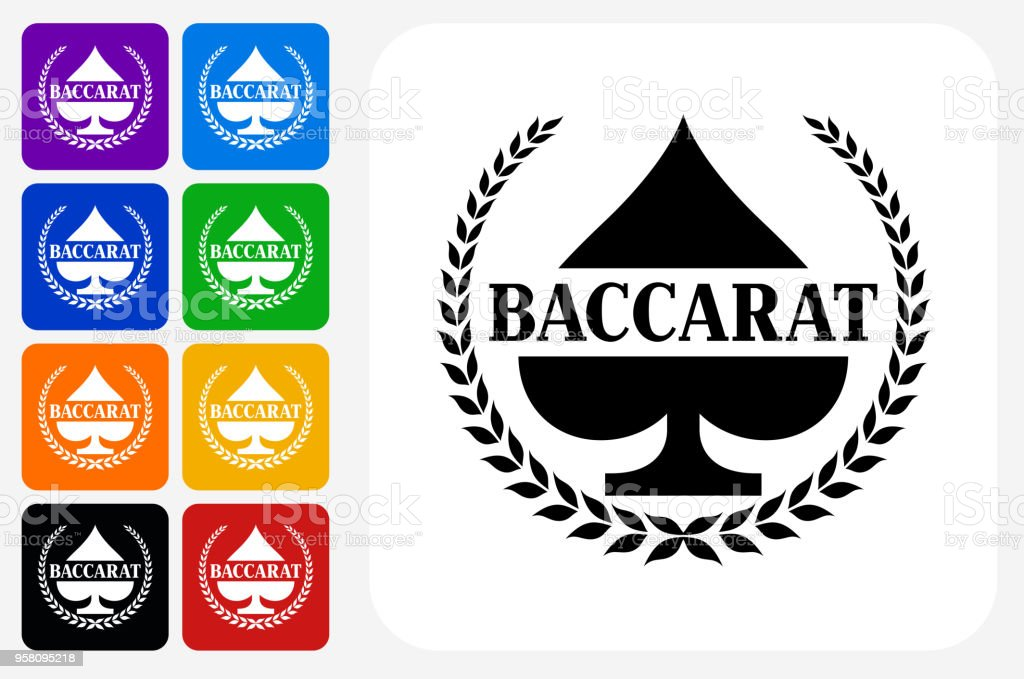 Baccarat Icon Square Button Set vector art illustration