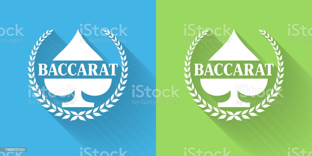 Baccarat Icon with Long Shadow vector art illustration