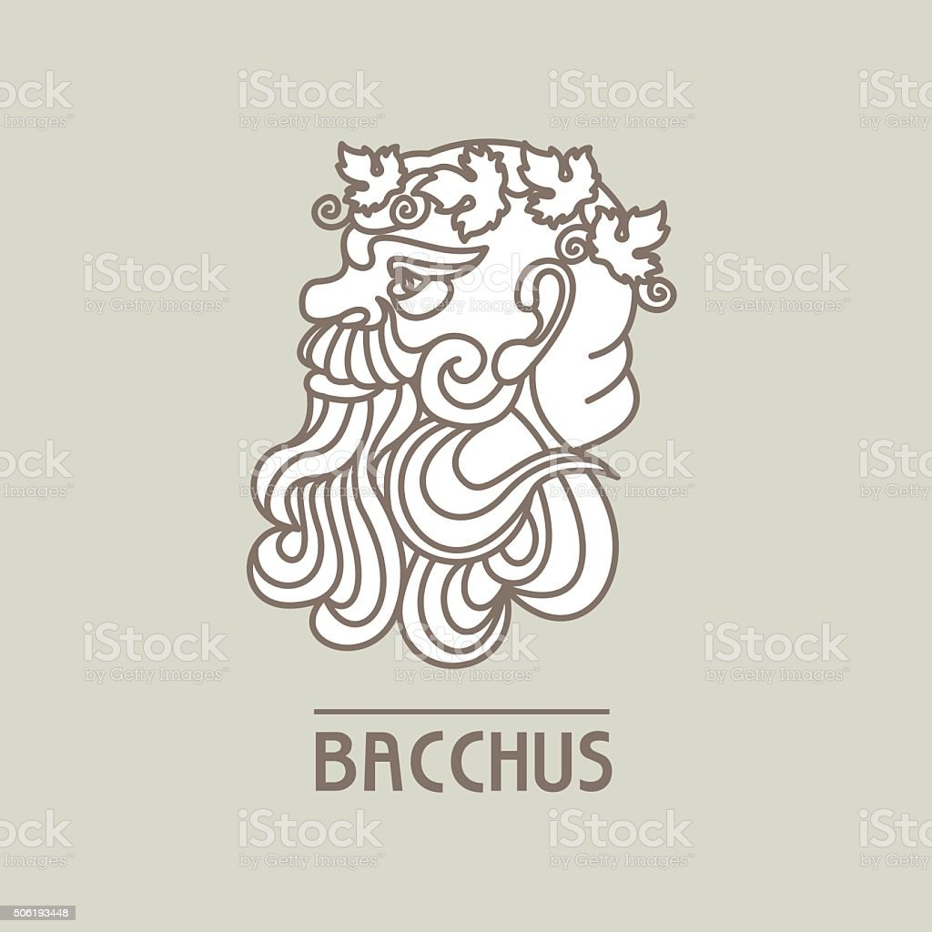 Bacchus. The God of wine. Vector logo. vector art illustration
